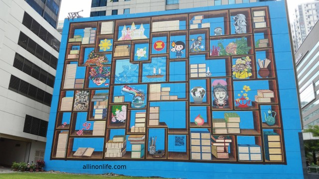 A building in Bonifacio Global City with nice street art.
